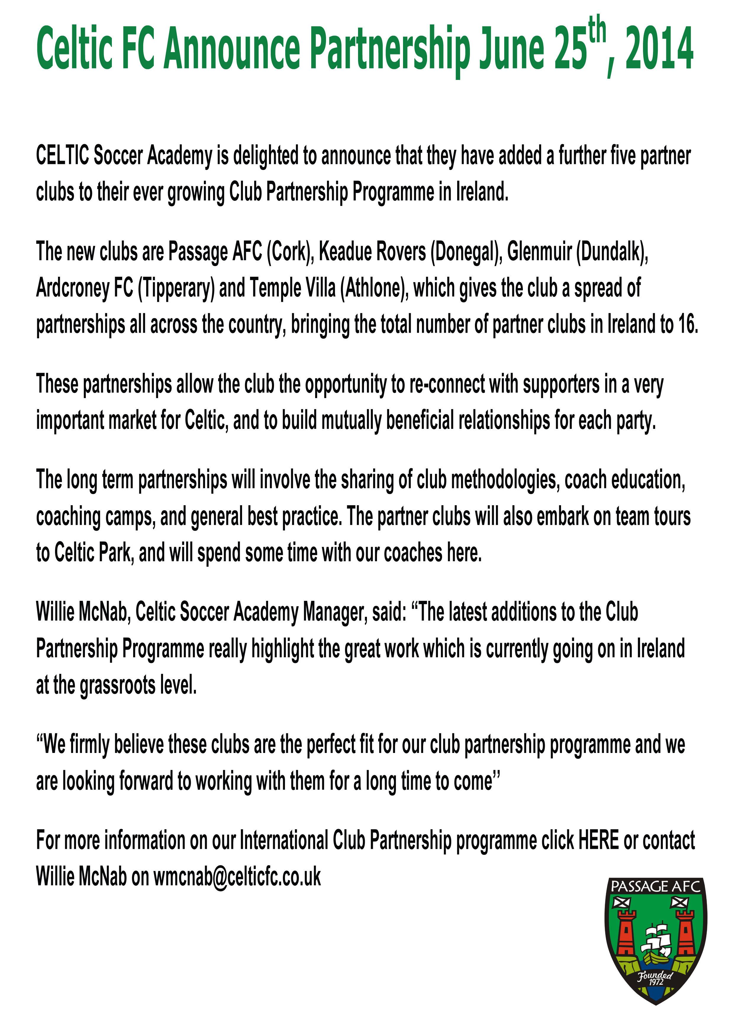 Celtic FC Announcement